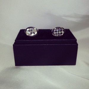 Silver Checkered Hand- Made Novelty Cuff Links $45