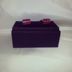 Red and Silver Stripe Hand- Made Novelty Cuff Link $45