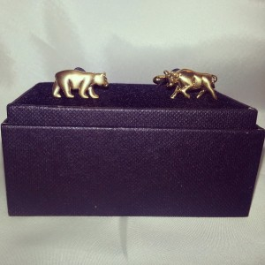 Gold Bear and Bull Hand- Made Novelty Cuff Links $45