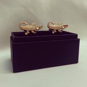 Gold Hand-made Novelty Gator Cuff Links $45