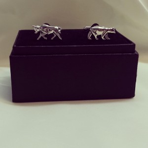 Silver Bull and Bear Hand- Made Novelty Cuff Link $45