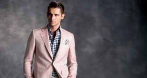 The model on top is sporting a creme colored linen Marzoni summer suit with a blue and white checkered shirt